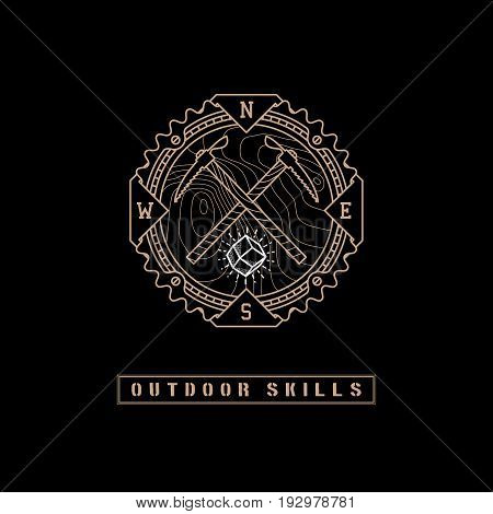 Template design label with gem, topographic grid, two ice axes and direction of the compass in trendy linear style on black background. Vector illustration.