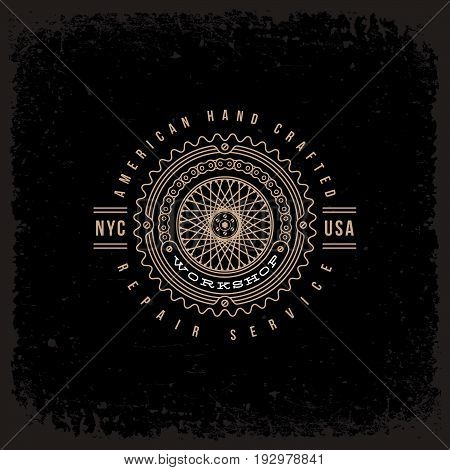 Template design label with spokes and chain in trendy linear style on grunge black background. Vector illustration.