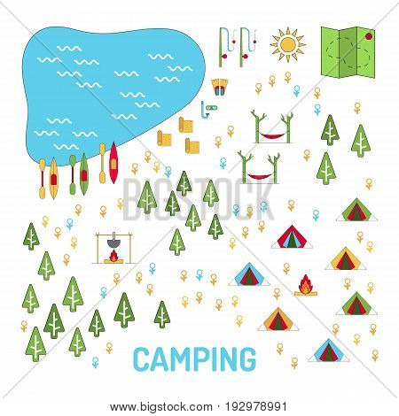 Template to create a map of the campsite. Tent camp in the forest on the map. Vector image isolated on white background