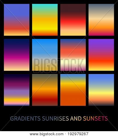 Set of bright sunset and sunrise gradients. Stock vector