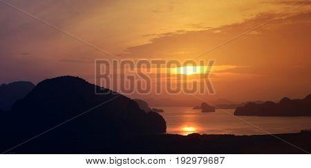 Panoramic of the Phang Nga bay Andaman sea at sunset Thailand