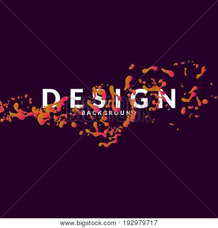 Abstract bright background with orange splashes and word design. Vector illustration in simple minimalist style