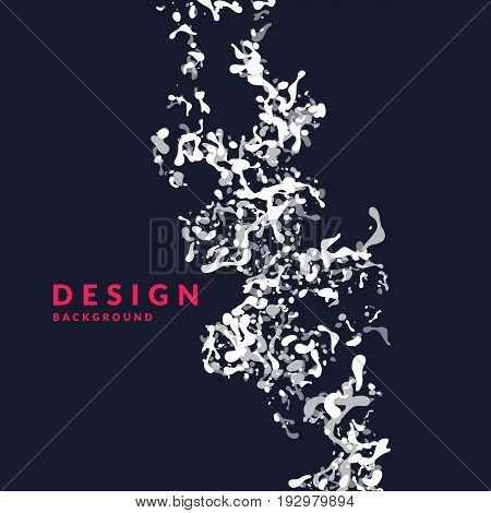 Bright abstract background with explosion of white splashes and word design. Vector illustration in flat minimalistic style
