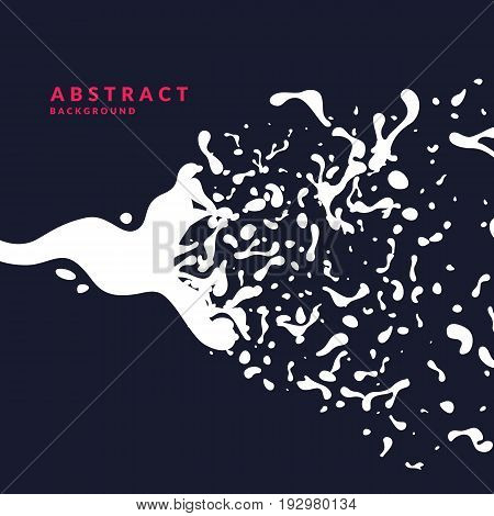 Bright abstract background with explosion of white splashes. Vector illustration in flat minimalistic style