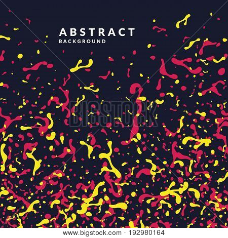 Bright abstract background with explosion of red and yellow splashes. Vector illustration in flat minimalistic style