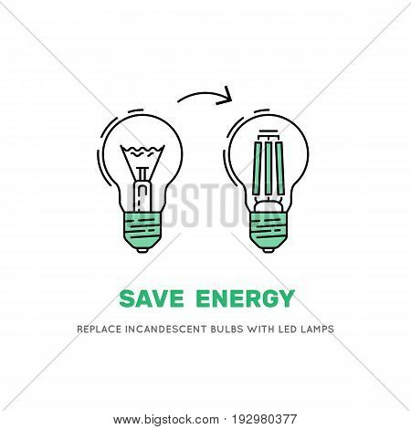 Banner saying that the replacement of incandescent Lam led lamps will reduce electricity consumption, thus reducing the bills from energy companies. Vector LED energy saving lamp bulb symbols