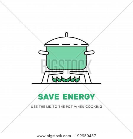 Boiling water in pan. Green cooking pot on stove. Flat line design graphics elements. Vector illustration on white background isolated