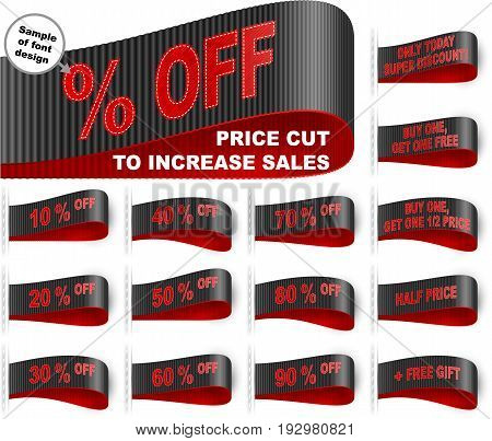 Clothes labels with price cuts; Tags with embroidered marketing phrases; Discount today only; Buy one get one free gift; Half price; 10; 50; % off; Set of vector black icons for sales promotion