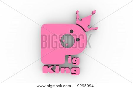 Royal pork logo. Pig in crown. Emblem for production of meat. Farm animal icon. 3D rendering