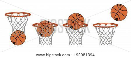 Set basketball images. Stages of hitting the ball in the basket. Vector illustration.
