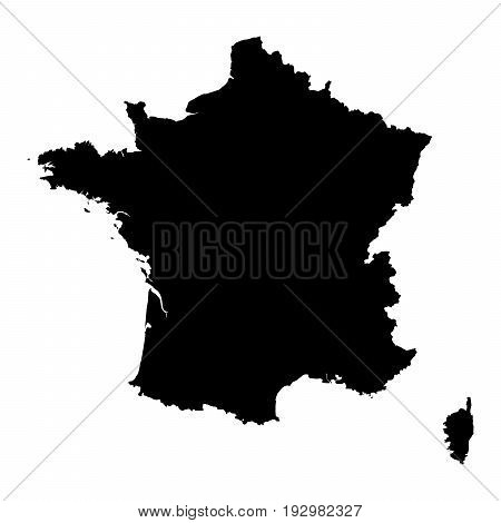 France Black Silhouette Map Outline Isolated On White 3D Illustration