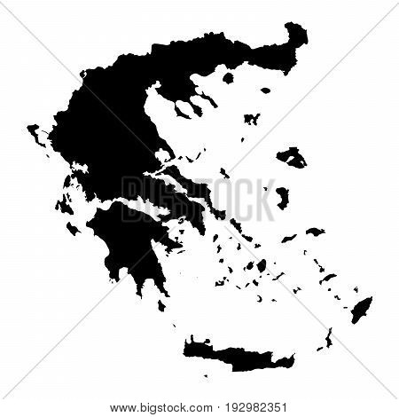 Greece Black Silhouette Map Outline Isolated On White 3D Illustration