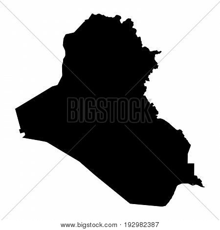 Iraq Black Silhouette Map Outline Isolated On White 3D Illustration
