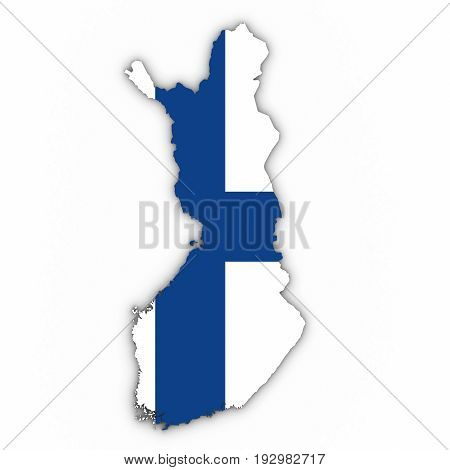 Finland Map Outline With Finnish Flag On White With Shadows 3D Illustration