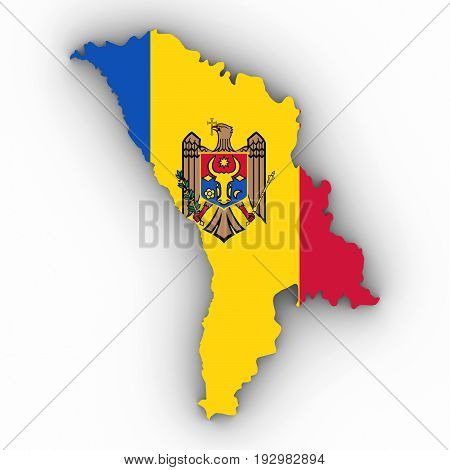 Moldova Map Outline With Moldovan Flag On White With Shadows 3D Illustration