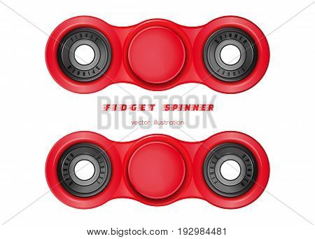 A plastic fidget spinner with two blades. Hand fidget spinner toy for improvement of attention span. Stress-relieving toy. Realistic vector illustration isolated on white background