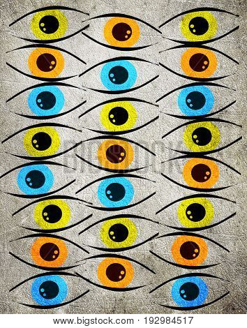 colored eyes on grey digital illustration background