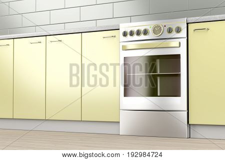 Electric stove in the kitchen, 3D illustration