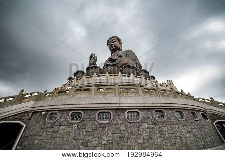 the big Buddha statue in Ngong Ping village