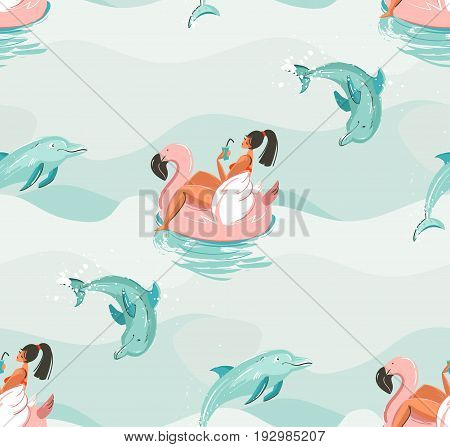 Hand drawn vector abstract cute summer time seamless pattern with beach girl swimming on pink flamingo float circle and dolphins in blue ocean water waves texture background