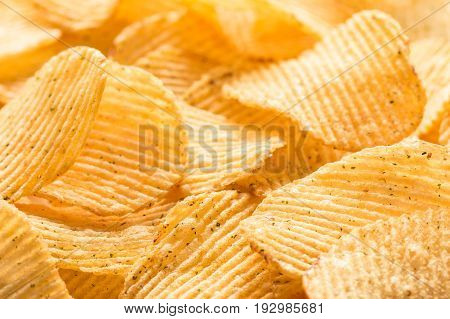 Potato Chips Texture Background. Potatoes Pattern