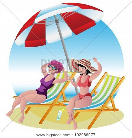 Girl sitting on deck chair under an umbrella by the sea. Vector illustration
