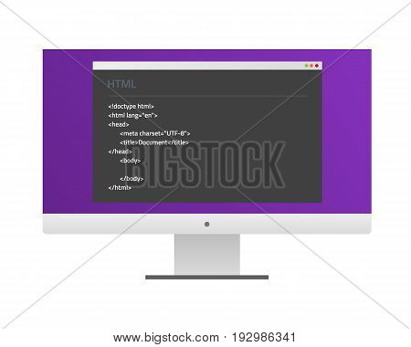 Screen monitor with a window and HTML code. Flat material design. Vector Illustration. Eps10.