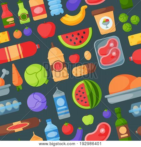 Everyday food icons patchwork. Set of common goods and everyday products we get by shopping in supermarket. Patch food breakfast or dinner seamless pattern background