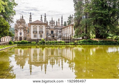 VILA REAL,PORTUGAL - MAY 15,2017 - View at the Palace of Mateus near Vila Real in Portugal. Vila Rael is located in a promontory formed by the gorges of the Corgo and Cabril rivers.