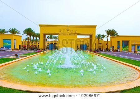 Sharm El Sheikh, Egypt - April 13, 2017: The main entrance of luxury five star hotel RIXOS SEAGATE SHARM at Sharm El Sheikh, Egypt on April 13, 2017
