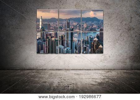 multiple city frame clang on the scratched wall
