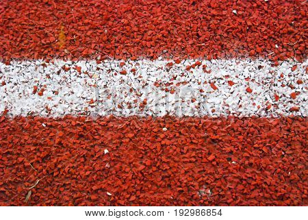Running track rubber standard red color and white line