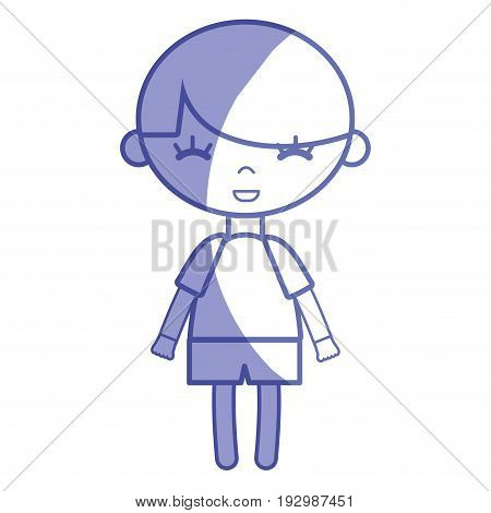 silhouette tender boy child with pijama and hairstyle vector illustration