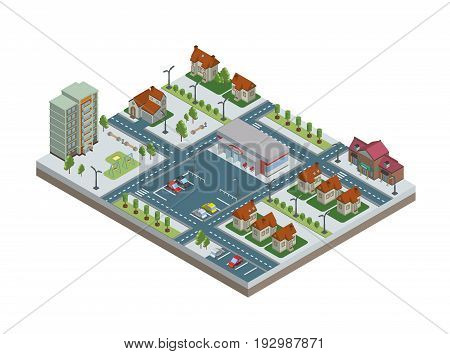 Isometric city with buildings, parking and store. Downtown and suburbs. Vector illustration, isolated on white background.