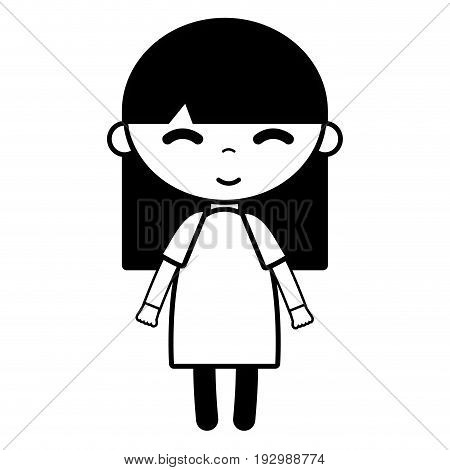 contour tender girl child with pijama and hairstyle vector illustration
