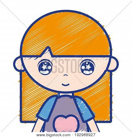 tender girl child with pijama and hairstyle vector illustration