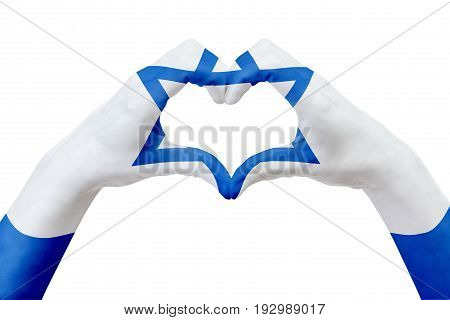 Hands flag of Israel shape a heart. Concept of country symbol isolated on white. Abstract 3d illustration graphic design with pattern and texture.