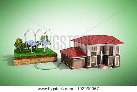 The Concept Of Ecologically Clean Energy The House Is Connected To Solar Panels  3D Render On Green