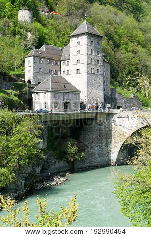 Saint-maurice (valais, Switzerland) - Exterior Of The Ancient Castle