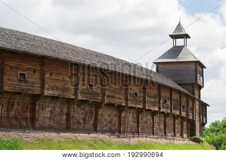 Photo of wooden Cossack fortress Baturin Ukraine