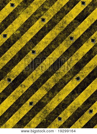 old grungy yellow hazard sign full of bullet holes