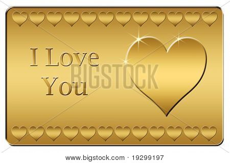 simple golden I love you plaque with heart