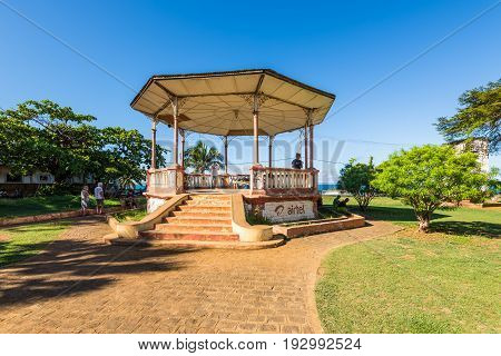Antsiranana Madagascar - December 20 2015: The disused military music pavilion or bandstand in Antsiranana (formerly Diego Suarez) north of Madagascar East African Islands Africa.