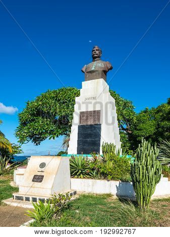 Antsiranana Madagascar - December 20 2015: The statue of French General Joffre in Antsiranana (formerly Diego Suarez) north of Madagascar East African Islands Africa.