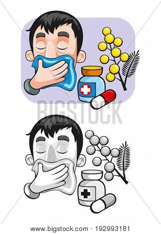 Cartoon allergy template with pollen medicament allergens and man sneezing in handkerchief in colorful and monochrome styles isolated vector illustration
