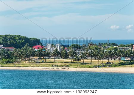 Toamasina Madagascar - December 22 2017: View of the city and beach in the Toamasina (Tamatave) Madagascar.