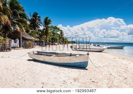 Ramena Madagascar - December 20 2015: Boats on the Ramena beach in the fishing village of Ramena Madagascar East African Islands Africa.