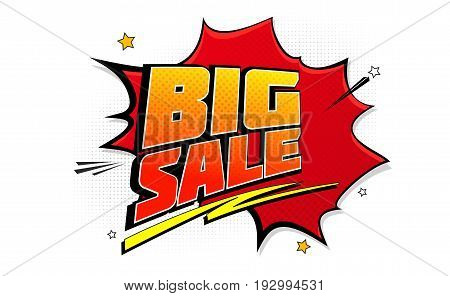 Big sale pop art splash background, explosion in comics book style. Advertising signboard, price reduction, sale with halftone dots, cloud beams on white backdrop. Vector for ad, covers, posters.