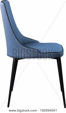 Designer blue dining chair on black metal legs. Modern soft chair isolated on white background