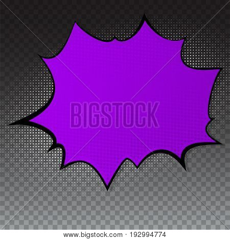 Pop art splash background, explosion in comics book style, blank layout template with halftone dots, cloud beams, dots pattern on transparent backdrop. Vector template for ad, covers, posters.